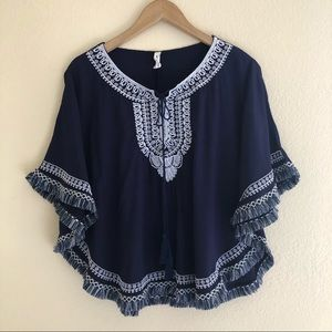 My Beloved Boho Poncho Top Size S